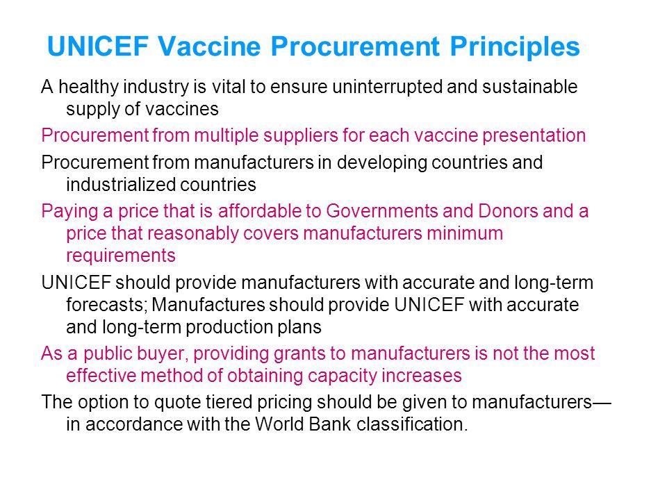 UNICEF Vaccine Procurement Principles