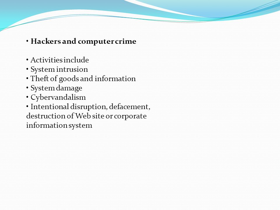 • Hackers and computer crime