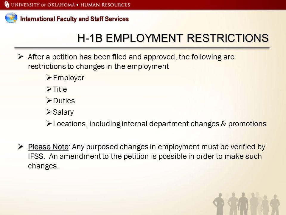H-1B EMPLOYMENT RESTRICTIONS