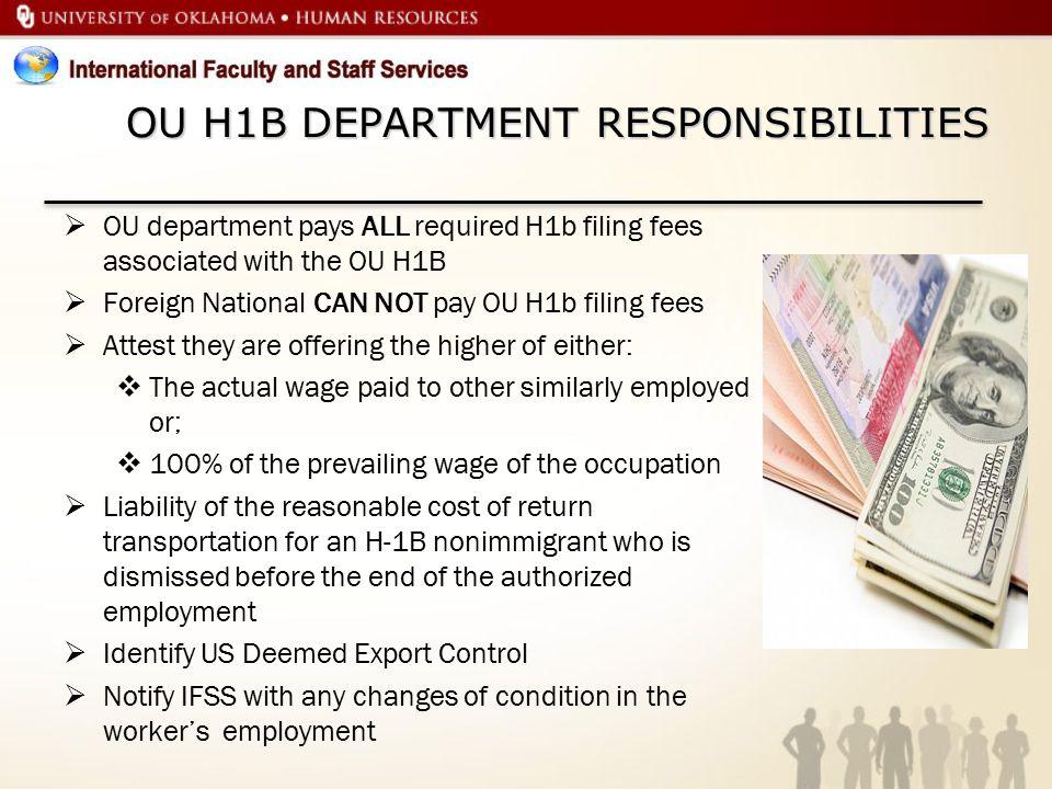OU H1B DEPARTMENT RESPONSIBILITIES