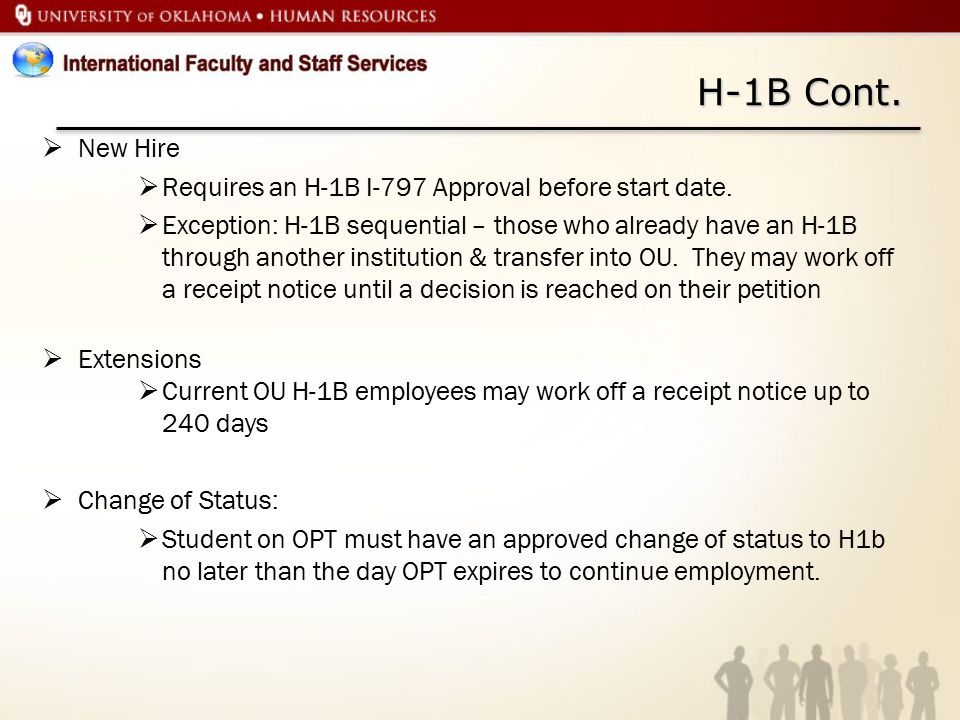 H-1B Cont. New Hire Requires an H-1B I-797 Approval before start date.