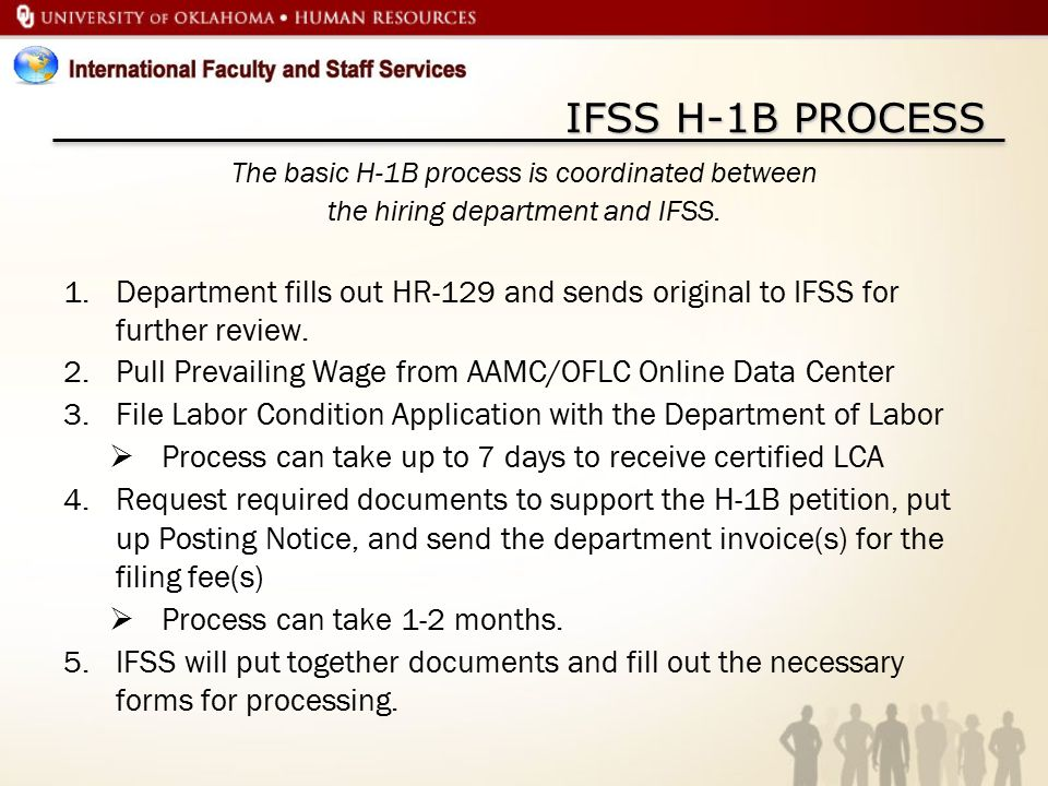 IFSS H-1B PROCESS The basic H-1B process is coordinated between. the hiring department and IFSS.