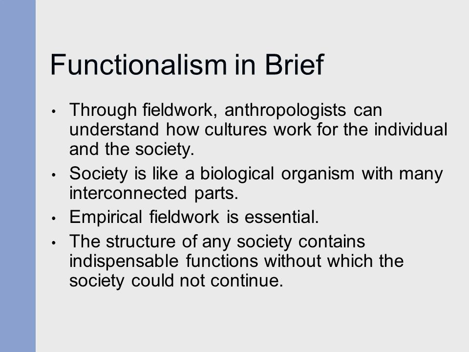 Functionalism in Brief