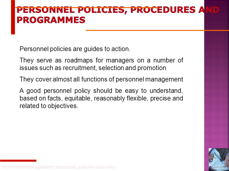 Personnel Policies, Procedures And Programmes