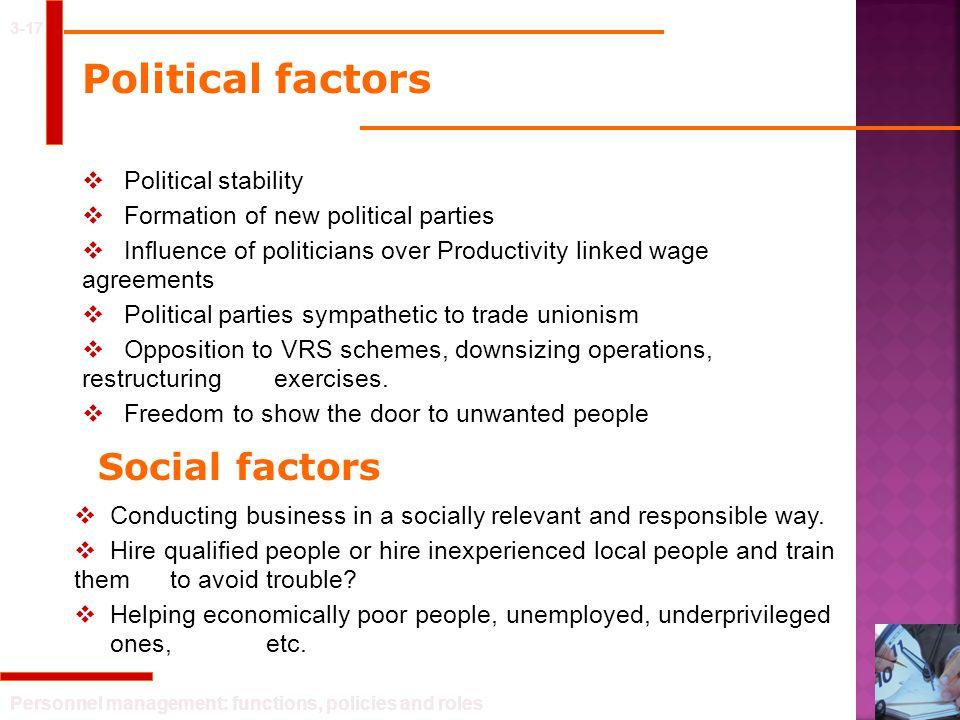 Political factors Social factors Political stability