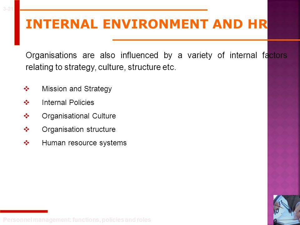 INTERNAL ENVIRONMENT AND HR
