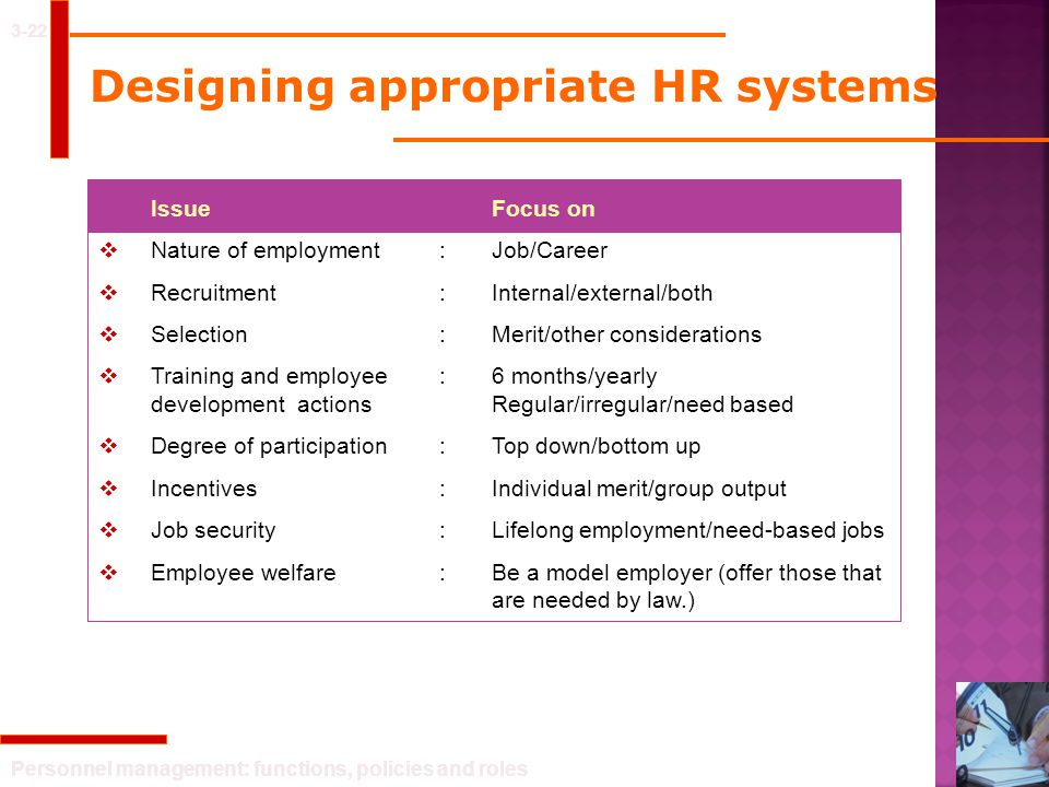 Designing appropriate HR systems