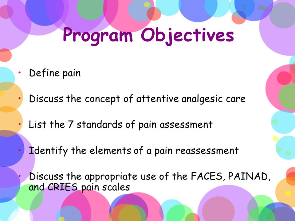 Program Objectives Define pain