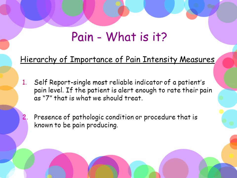Pain - What is it Hierarchy of Importance of Pain Intensity Measures