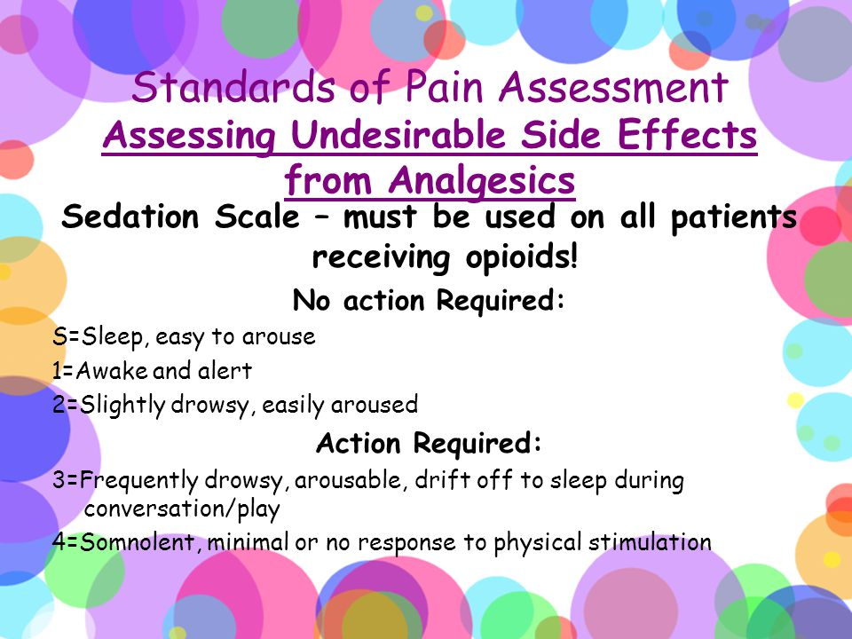 Sedation Scale – must be used on all patients receiving opioids!