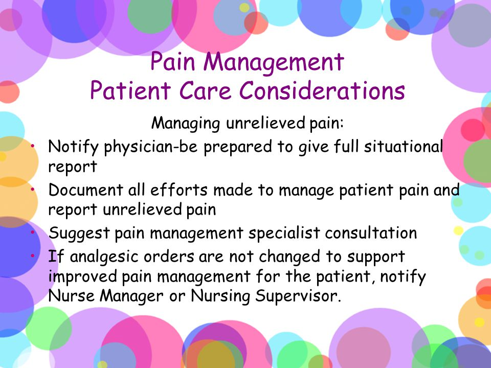 Pain Management Patient Care Considerations