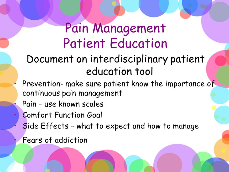 Pain Management Patient Education
