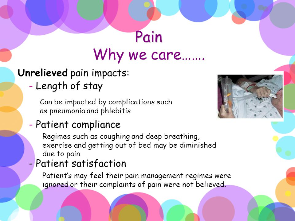 Pain Why we care……. Unrelieved pain impacts: - Length of stay