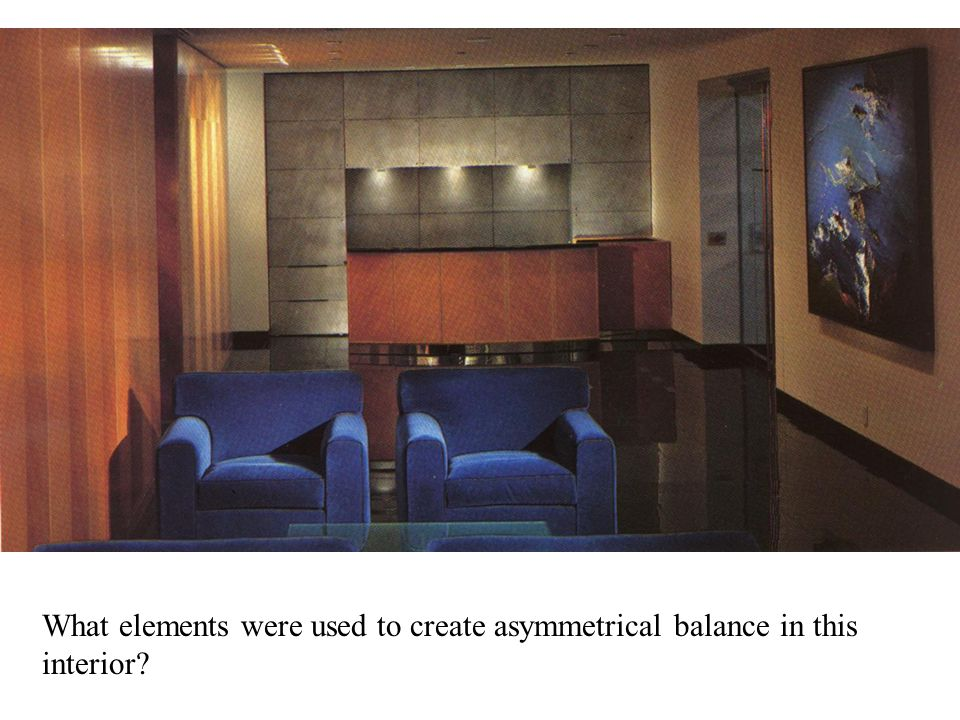 What elements were used to create asymmetrical balance in this interior