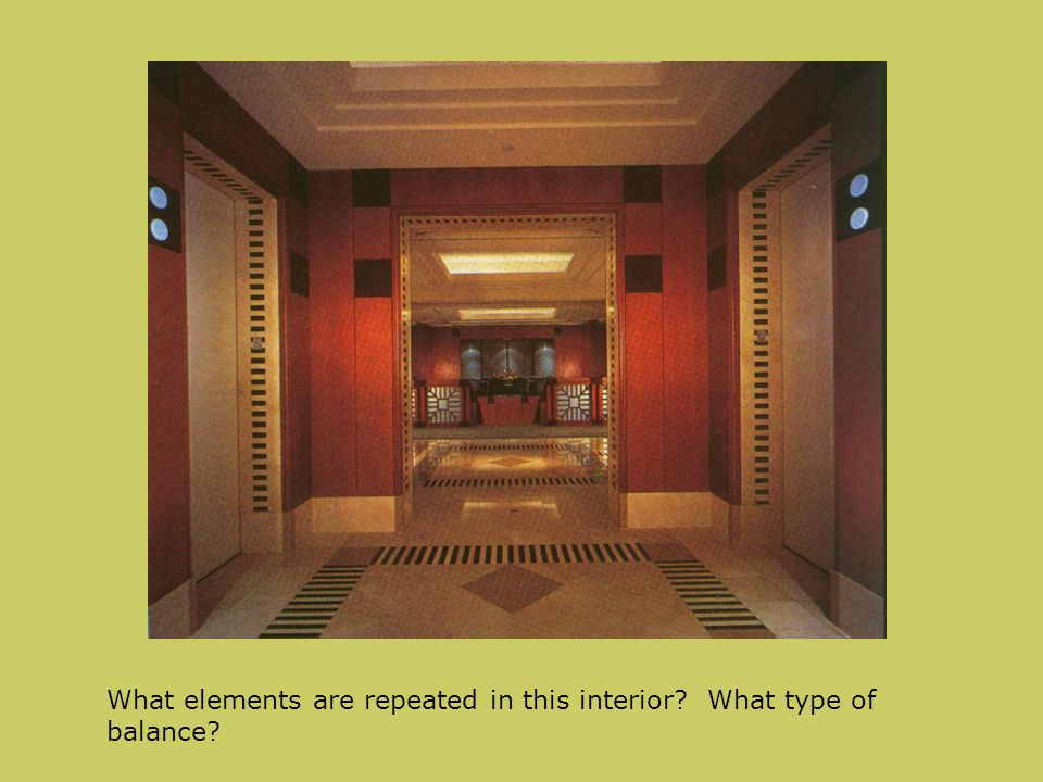 What elements are repeated in this interior What type of balance