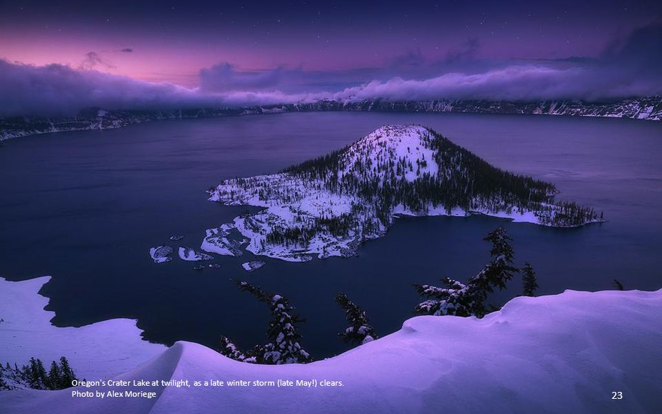Oregon s Crater Lake at twilight, as a late winter storm (late May