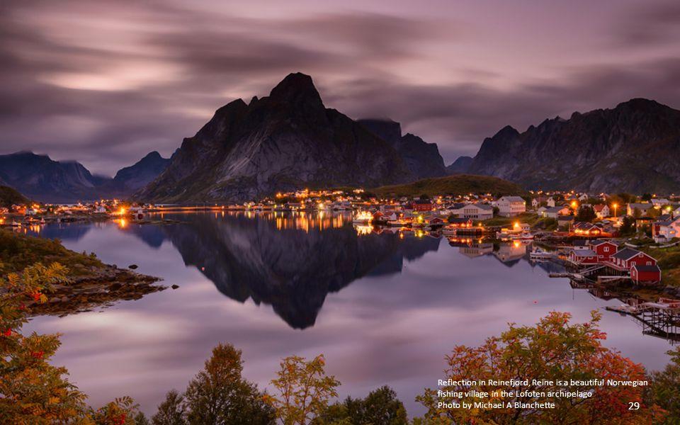 Reflection in Reinefjord, Reine is a beautiful Norwegian fishing village in the Lofoten archipelago
