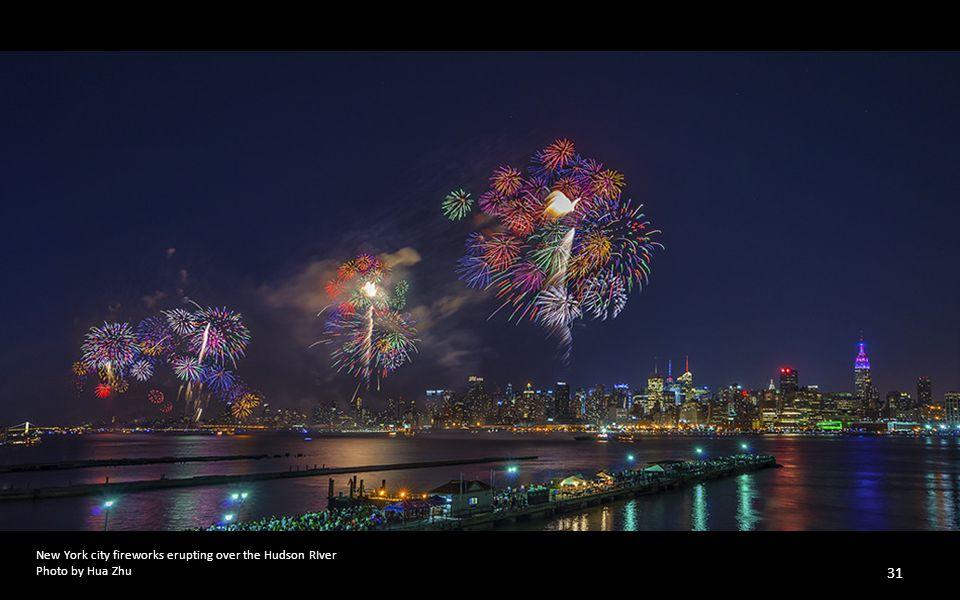 New York city fireworks erupting over the Hudson RIver