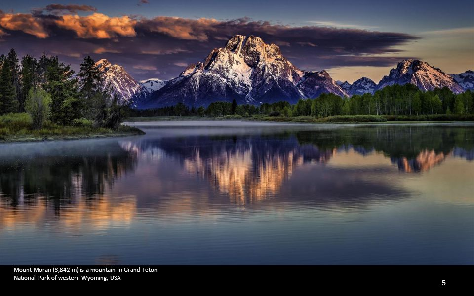 Mount Moran (3,842 m) is a mountain in Grand Teton National Park of western Wyoming, USA
