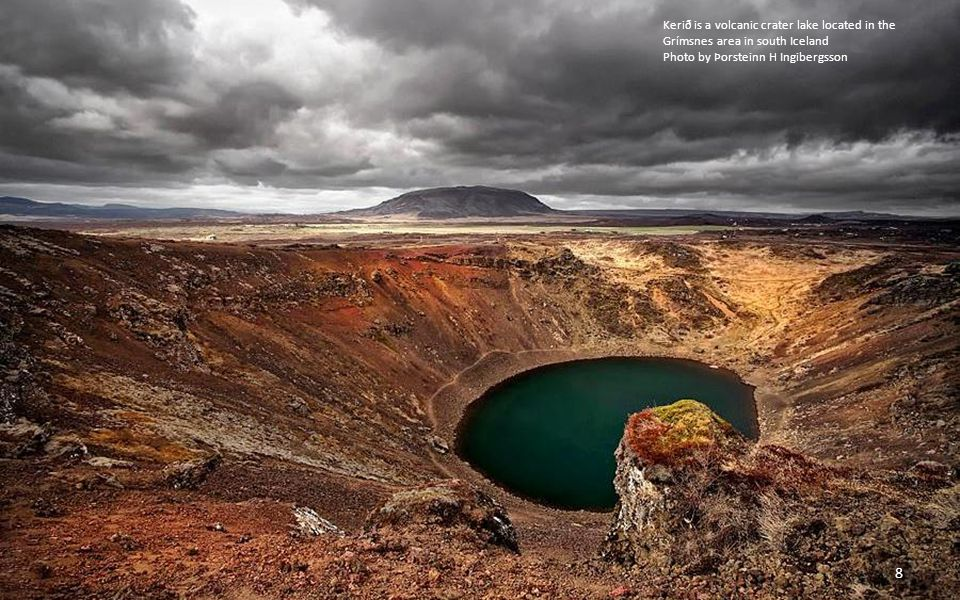 Kerið is a volcanic crater lake located in the Grímsnes area in south Iceland