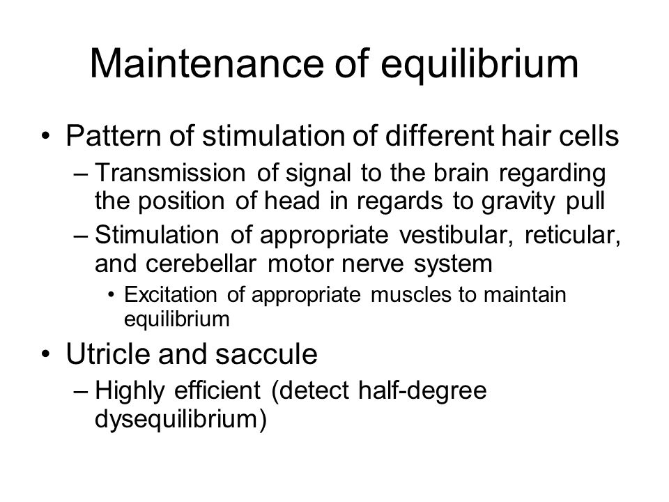 Maintenance of equilibrium