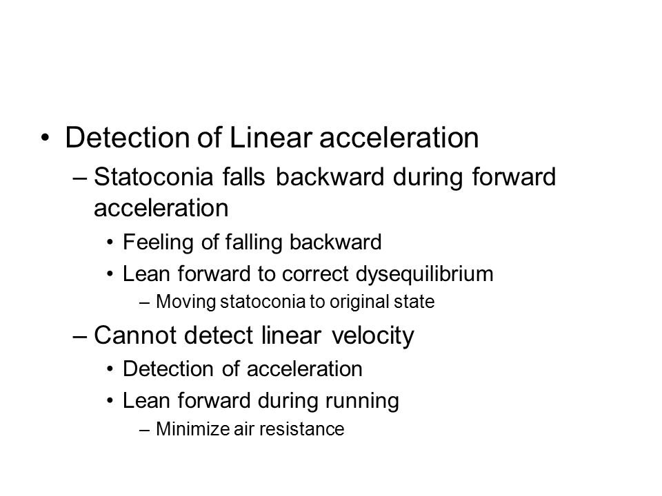 Detection of Linear acceleration