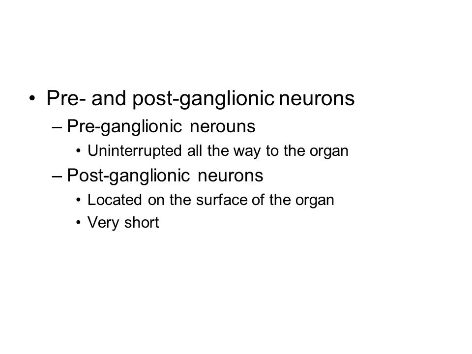 Pre- and post-ganglionic neurons