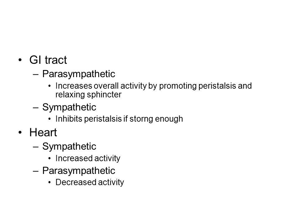 GI tract Heart Parasympathetic Sympathetic