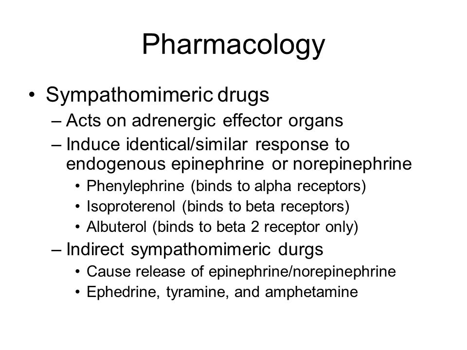 Pharmacology Sympathomimeric drugs Acts on adrenergic effector organs
