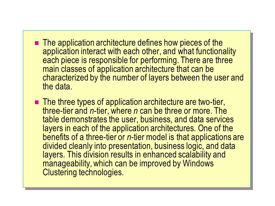 The application architecture defines how pieces of the application interact with each other, and what functionality each piece is responsible for performing. There are three main classes of application architecture that can be characterized by the number of layers between the user and the data.