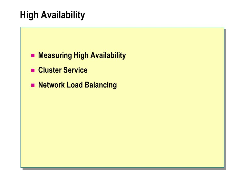 High Availability Measuring High Availability Cluster Service