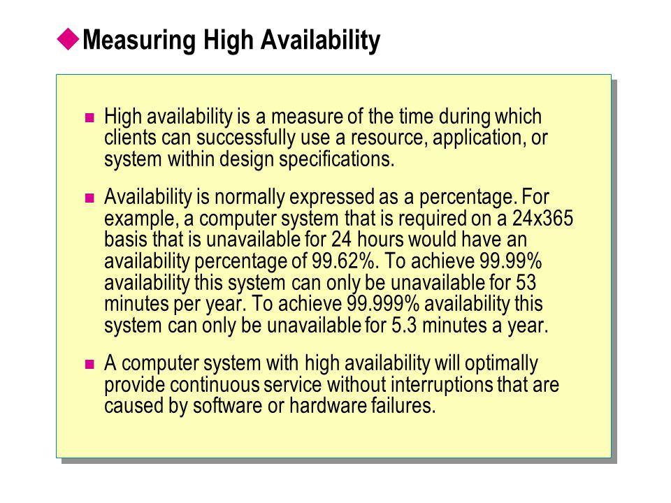 Measuring High Availability