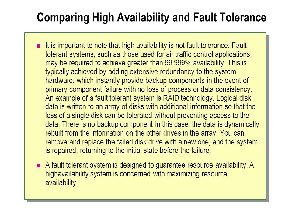 Comparing High Availability and Fault Tolerance