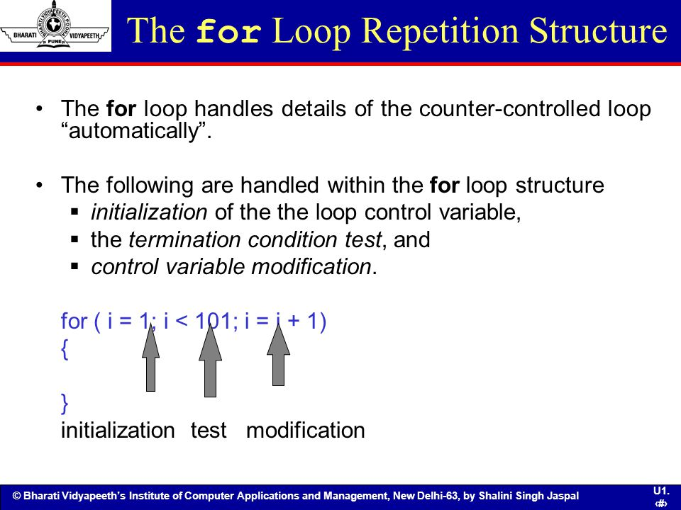 The for Loop Repetition Structure
