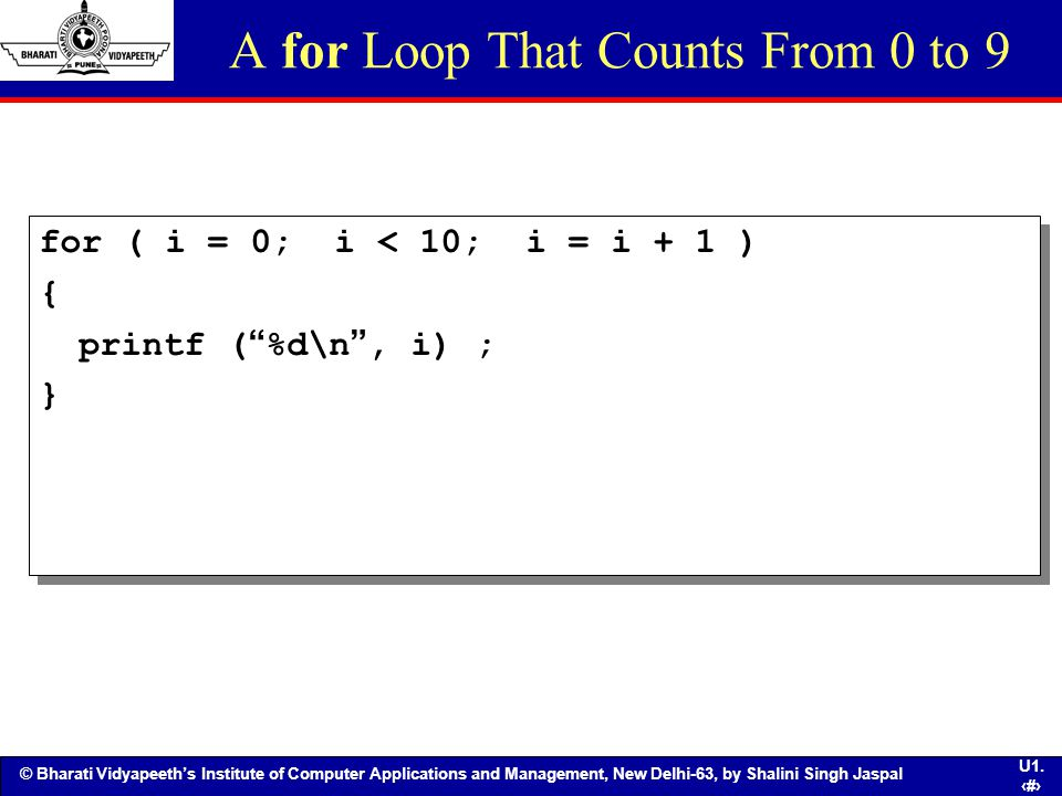 A for Loop That Counts From 0 to 9