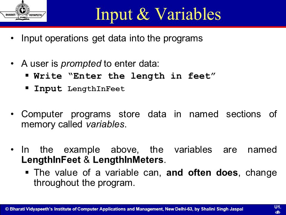 Input & Variables Input operations get data into the programs