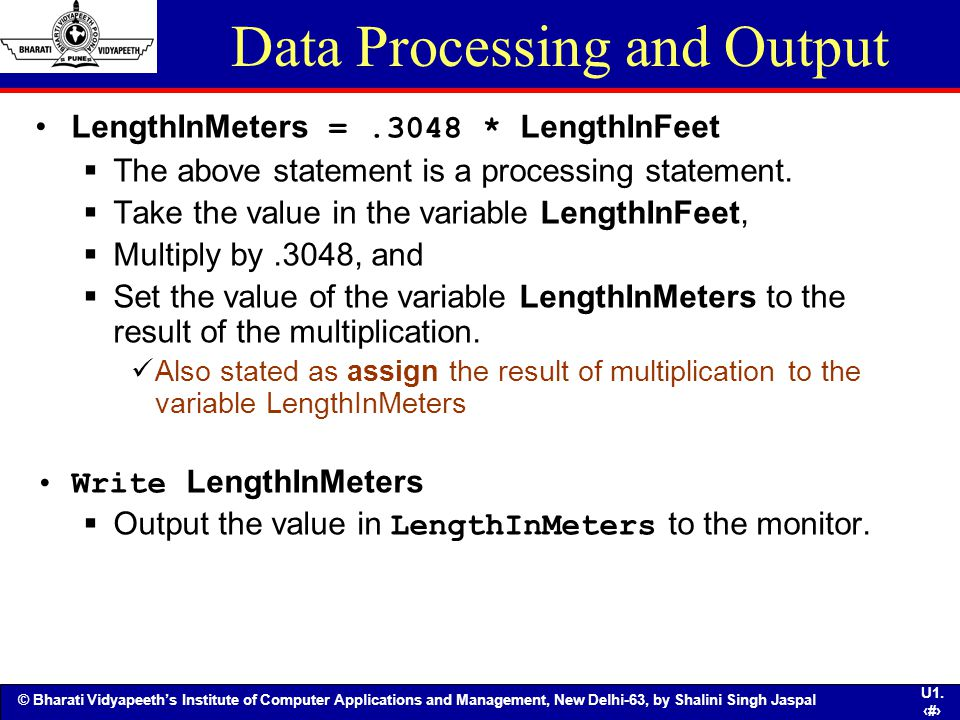 Data Processing and Output