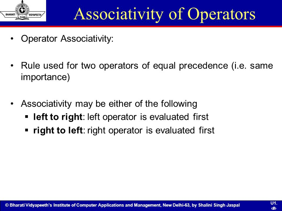 Associativity of Operators