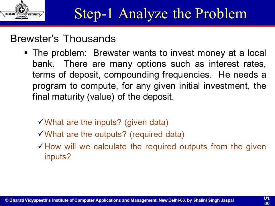 Step-1 Analyze the Problem
