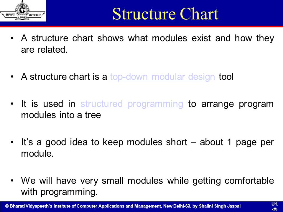 Structure Chart A structure chart shows what modules exist and how they are related. A structure chart is a top-down modular design tool.