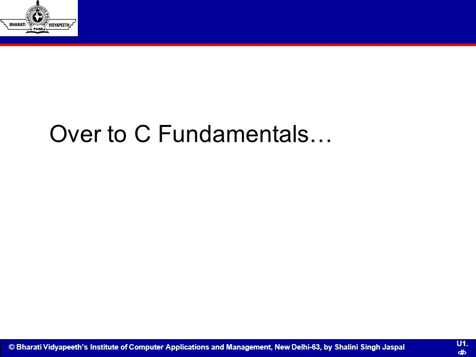 Over to C Fundamentals…