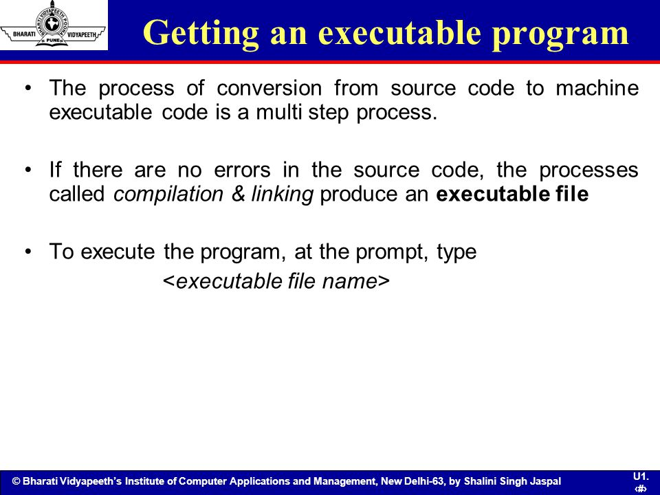 Getting an executable program