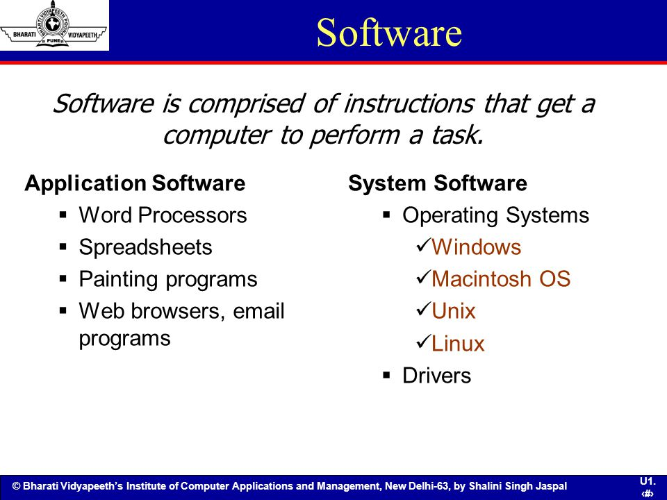 Software Software is comprised of instructions that get a computer to perform a task. Application Software.