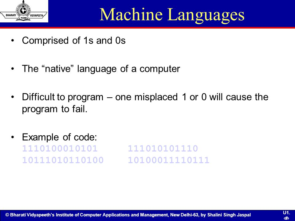 Machine Languages Comprised of 1s and 0s