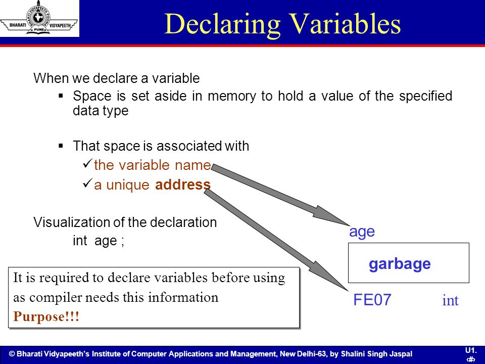 Declaring Variables age FE07 int garbage the variable name