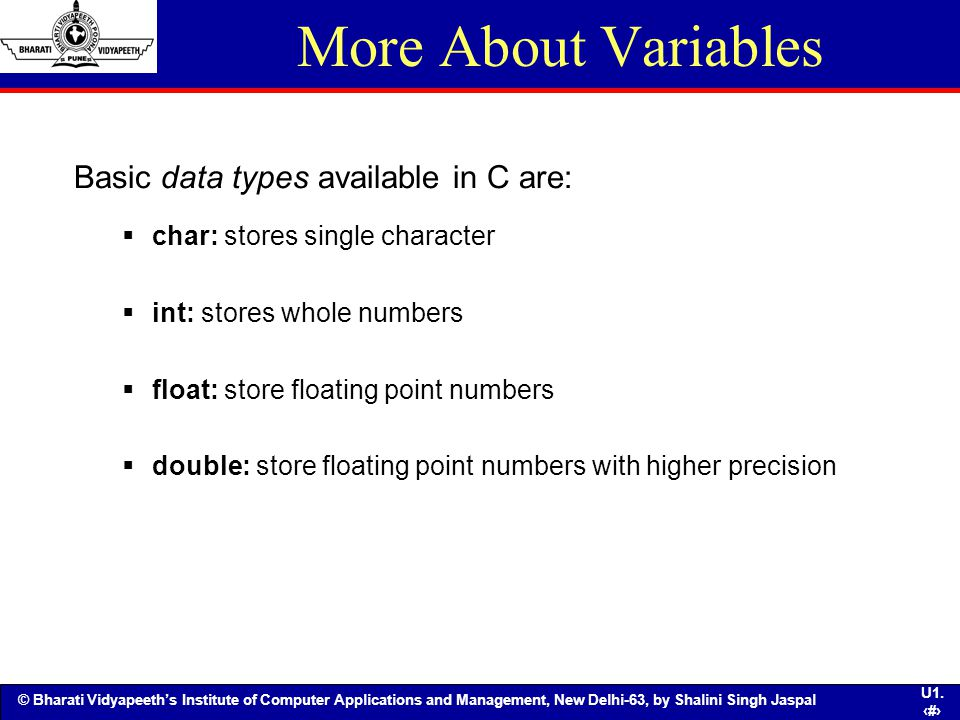 More About Variables Basic data types available in C are: