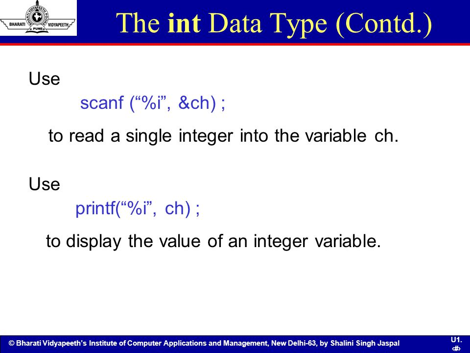 The int Data Type (Contd.)