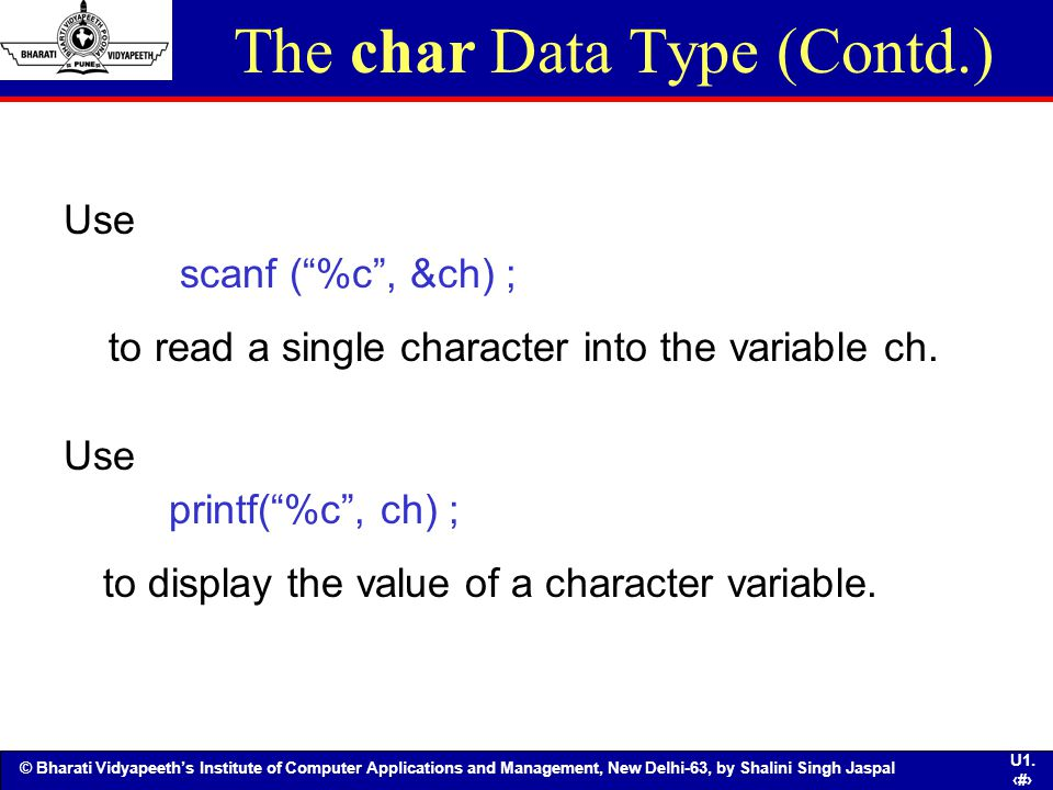 The char Data Type (Contd.)