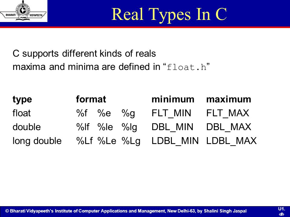 Real Types In C C supports different kinds of reals