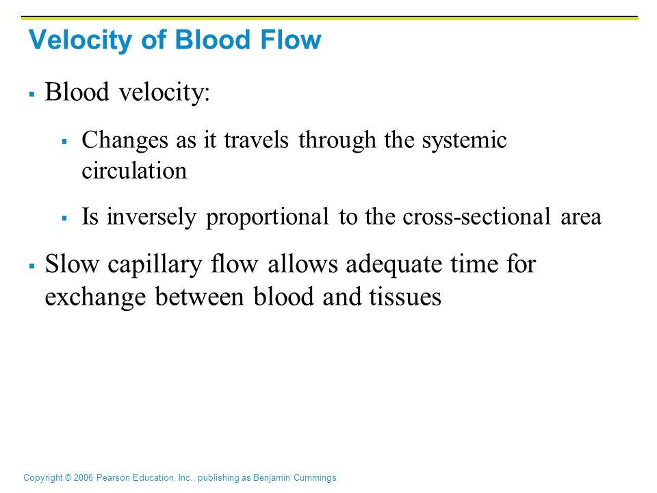 Velocity of Blood Flow Blood velocity: